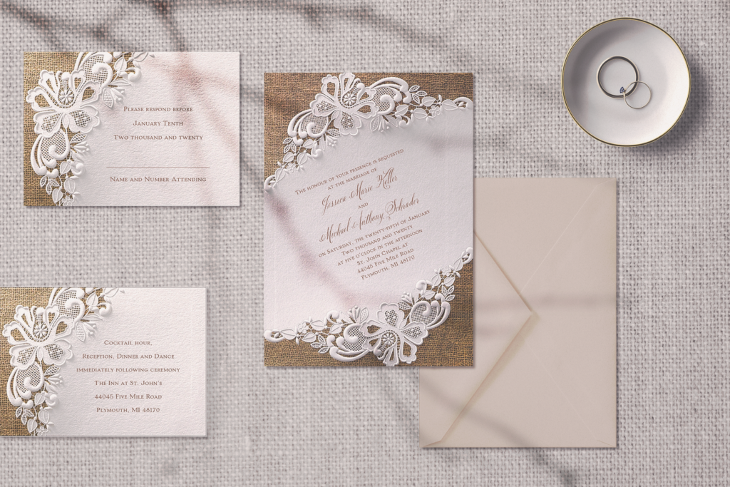 The Battenburg Lace collection from Carlson Craft offers a mix of rustic elements and elegant lace.
